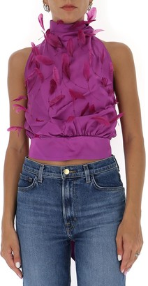 ATTICO Feathered Open-Back Top