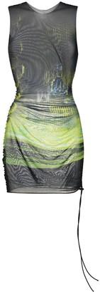 Louisa Ballou Sheer Ruched Mini Dress