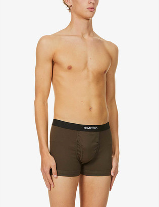 Tom Ford Branded-waistband fitted stretch-cotton trunks