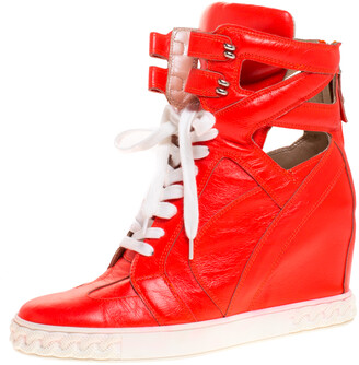 Casadei Orange Leather Wedge High Top Sneakers Size 40