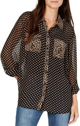 INC International Concepts Petite Dot-Print Sheer Shirt