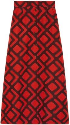 Gucci Optical rhombus wool skirt