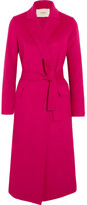 Maje Belted Wool-blend Felt Coat - Fuchsia