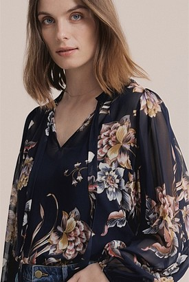 Witchery Print Georgette Puff Blouse