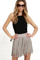 BB Dakota Pearl Taupe Suede Fringe Mini Skirt