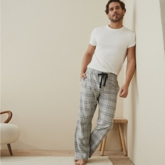 The White Company Men's Flannel Check Pyjama Bottoms, Grey, Large