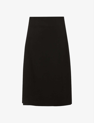Comme Comme Des Garcons Pleated high-waist wool midi skirt