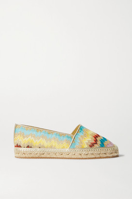 Missoni Metallic Leather-trimmed Crochet-knit Canvas Espadrilles - Gold