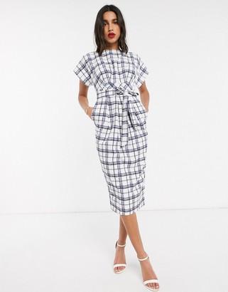 Closet London Closet cap sleeve midi dress in check