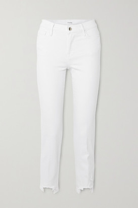 Frame Le Nouveau Cropped Distressed Mid-rise Slim-fit Jeans - White