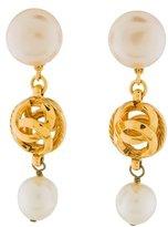 Chanel Faux Pearl CC Drop Earrings