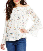 WAYF Gwen Ditzy Floral Off-the-Shoulder Bell Sleeve Blouse