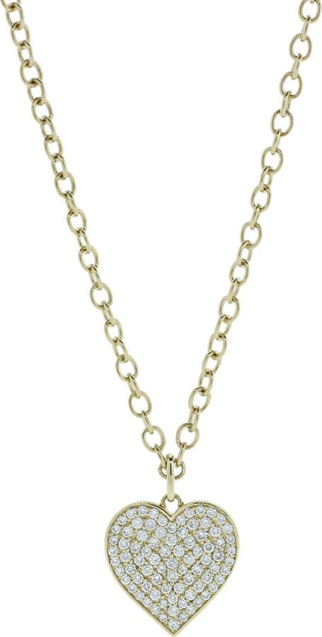Sydney Evan Pave Diamond Heart Necklace