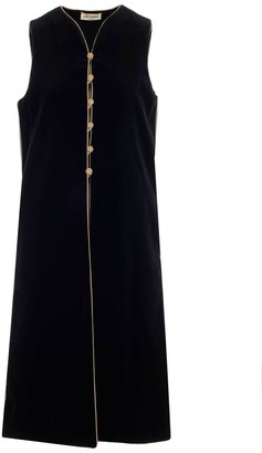 Saint Laurent Sleeveless Long Velvet Gillet
