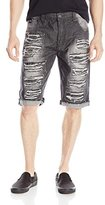 Southpole Men's Short Denim Shorts with Multiple Horizontal Rips and Cuffing