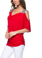 Magic Fit Red Sequin-Shoulder Cutout Top