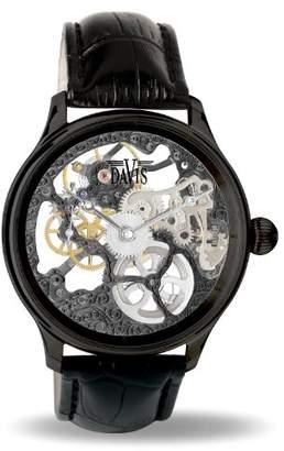 Davis 0899 - Mens Skeleton Watch Black Hand wind Mechanical Movement Black leather Strap