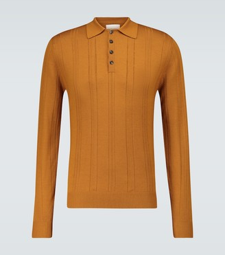 King And Tuckfield Long-sleeved wool polo shirt