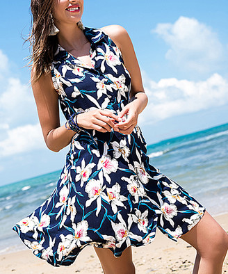 Milan Kiss Women's Casual Dresses NAVY-FLORAL - Navy Floral Collared Sleeveless Dress - Women