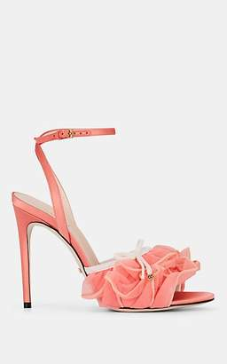 Gucci Women's Ruffled-Tulle Satin Ankle-Strap Sandals - Pink