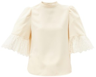See by Chloe Puff-sleeved Satin Blouse - Ivory