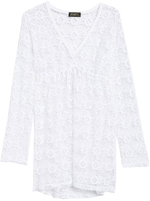 Athena Front Tie Lace Knit Cover-Up Tunic
