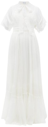 Luisa Beccaria Pussy-bow Lace And Silk-crepe Gown - Womens - White