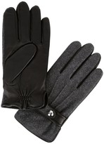 Polo Ralph Lauren Grey Leather And Wool Blend Gloves