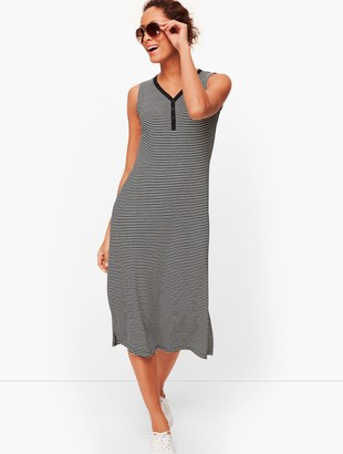 Talbots Stripe Sleeveless Henley Dress