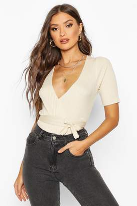 boohoo Wrap Front Knitted Short Sleeve Top