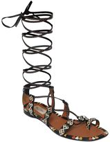 Valentino Primitive Print Leather Lace-Up Sandals