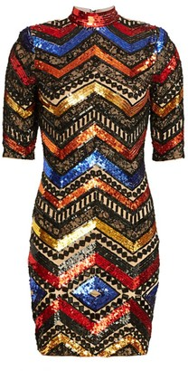 Alice + Olivia Inka Chevron Sequin Sheath Dress