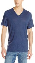 John Varvatos Men's Short Sleeve Knit V Neck T-Shirt with Pintuck Details
