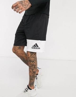 adidas Training block logo shorts in black
