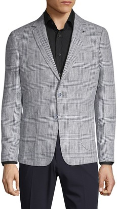 Saks Fifth Avenue Nhp Extra Slim Fit Plaid Linen Sport Coat