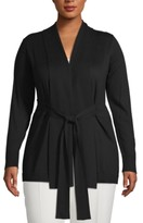 Anne Klein Plus Size Shawl-Collar Tie-Waist Cardigan