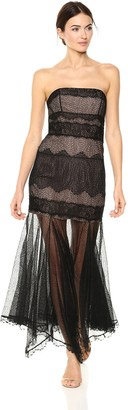 Halston Women's Strapless Lace Gown with Handkerchief Skirt