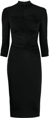 Versace Ruched Button Dress