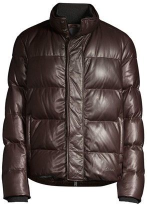 Brioni Goose Down Leather Puffer Jacket