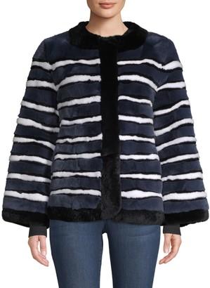 Pologeorgis Striped Rabbit Fur Coat