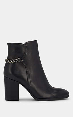 Barneys New York Women's Chain-Embellished Leather Ankle Boots - Black