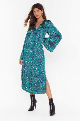 Nasty Gal Womens Come Down Leopard On 'Em Satin Midi Dress - green - 6