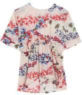 MSGM Pleated Floral-Print Cotton-Mousseline Top