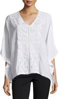Neiman Marcus Ball-Trim Embroidered Blouse, Ivory