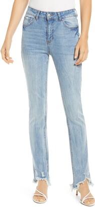 Tinsel Ripped Fray Hem Crop Bootcut Jeans