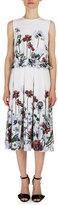 Erdem Muriel Floral-Print Midi Dress, White/Red
