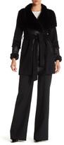 DKNY Faux Fur Wool Blend Belted Coat