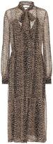 Saint Laurent Leopard-print silk midi dress