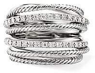 David Yurman Women's Crossover Diamond & Sterling Silver Wide Ring