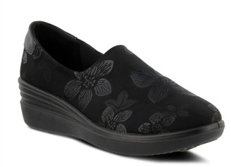 Spring Step Flexus By Noral-Flower Wedge Slip-On